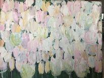 Frühling, Rosa, Ölmalerei, Blumenbeet
