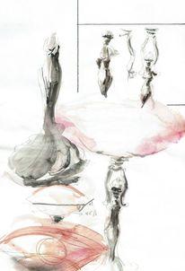 Aquarellmalerei, Lampe, Jugendstil, Aquarell