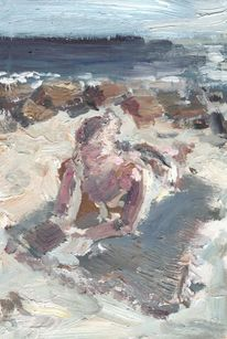 Strand, Frau, Ölmalerei, Urlaub