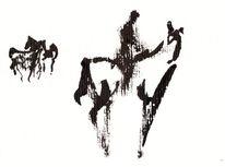 Reiter mit pferden, Abstrakt, Springpferd, Pferde