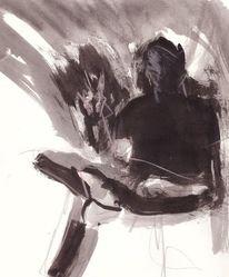 Selbstportrait, Abstrakt, Expressionismus, Aquarell