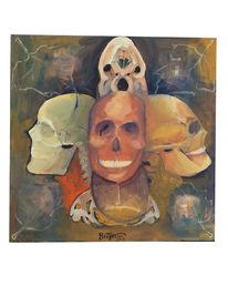 Portrait, Knochen, Gesicht, Malerei