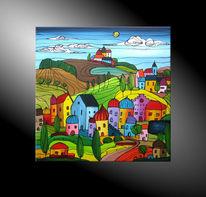 Moderne kunst kaufen, Bilder malerei, Landschaft, Acrylmalerei