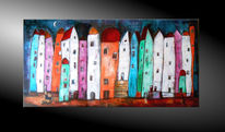Abstrakte malerei, Landschaft, Mischtechnik, Häuserzeile