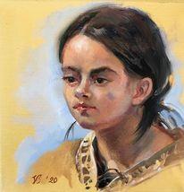 Portrait, Mädchen, Gesicht, Licht
