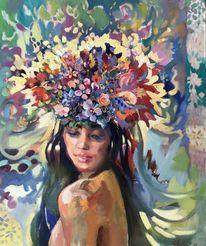 Dame, Frau, Blumen, Malerei