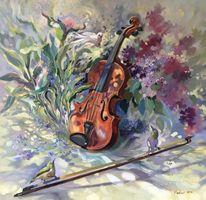 Musik, Vogel, Ölmalerei, Malerei