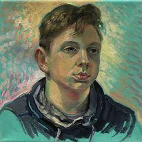 Malerei, Junge, Ölmalerei, Portrait