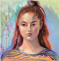 Portrait, Malerei, Gesicht, Mädchen