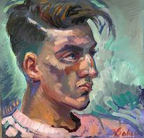 Ölmalerei, Portrait, Junge, Profil