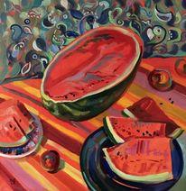 Stillleben, Licht, Wassermelone, Sommer