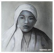 Frau, Mädchen, Bleistiftzeichnung, Zeichnung