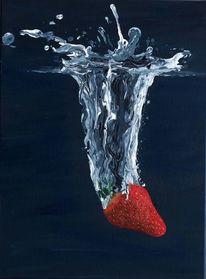 Früchte, Wasser, Platsch, Erdbeeren