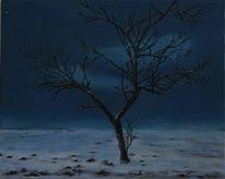 Nacht, Schnee, Mondschein, Winter