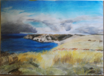 Wolken, Grob, Cornwall, Pastellmalerei