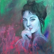 Portrait, Frau, Acrylmalerei, Abstrakt