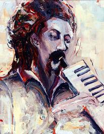 Musiker, Spontan, Acrylmalerei, Mann