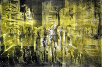 Hochdruck, Metallschnitt, Menschen, Großstadt bei nacht