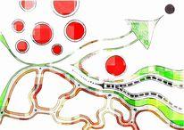 Abstrakt, Grün, Bschoeni, Rot