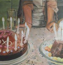 Kerzen, Licht, Frau, Malerei