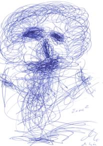 Blau, Portrait, Abstrakt, Zeichnung