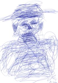 Blau, Abstrakt, Portrait, Zeichnung
