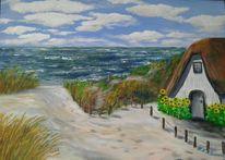Ostsee, Haus, Dünen, Wolken