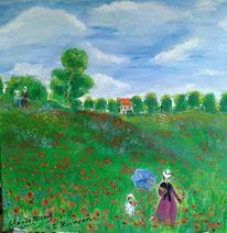Blumenwiese, Sommer, Mohnblumen, Monet