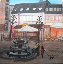 Saarland, Marktplatz, Brasserie, Brunnen