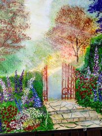 Baum, Lichtstrahlen, Blumen, Treppe