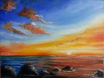 Landschaft, Meer, See, Malerei