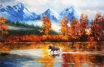 Malerei, Hirsch, Herbst, Berge