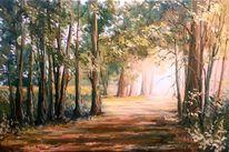 Malerei, Wald, Landschaft, Sonne
