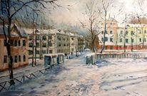 Landschaft, Russland, Zeichnung, Winter