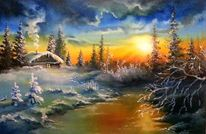 Winter, Landschaft, Russland, Malerei