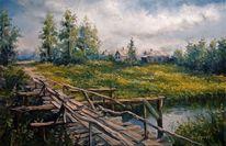 Zeichnung, Dorf, Landschaft öl, Natur