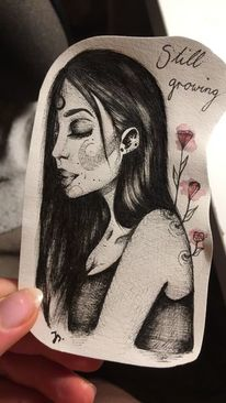 Blumen, Mädchen, Zeichnungen,