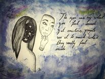Maske, Mädchen, Galaxie, Mischtechnik