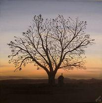 Heiligenhaus, Baum, Abend, Malerei