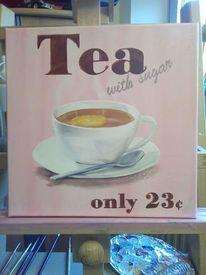 Tasse, Zucker, Tee, Malerei