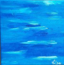 Ölmalerei, Weiß, Blau, Welle
