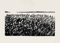 Lichtspiel, Gras, Linolschnitt, Druckgrafik