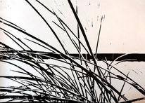 Gras, Nebenbeigekritzel, Fluss, Linolschnitt