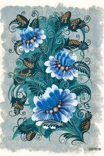 Bauernmalerei, Blumen, Ornament, Jahreszeiten