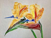 Blumen, Nebenbeigekritzel, Strelitzia, Aquarell