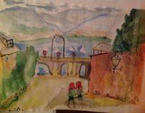 Malerei, See, Berge, Kinder