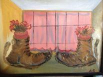 Mit blumen, Schuhe, Fenster, Aquarellmalerei