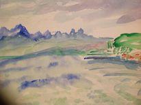 Landschaft, Berge, See, Aquarell