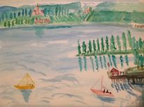 Malerei, Segel, See, Birnau am bodensee