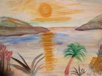 Sonnenaufgang, Spiegelung, Insel, Malerei